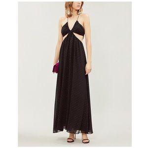 TOPSHOP Cutout sequin-embellished crepe maxi dress